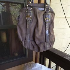 Hype Gray Shoulder Handbag. Grey Suède Hype bag. With gold buckles. Dust bag included. Good condition. Hype Bags Shoulder Bags