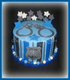 police cake after he graduates from the police academy Police Cakes, Military Cake, Police Party, Police Academy, First Birthday Parties, Birthday Cakes, Birthday Ideas, Cute Cakes, Cake Creations