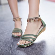 happyness Shoespie Metal Tassel Decorated Flat Sandals
