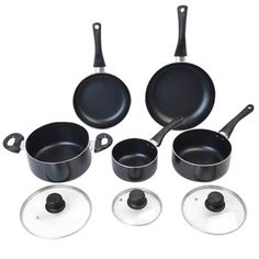Marky Products Ecom Store. Professional 8 piece Non Stick Cookware set. Includes 2.5 quart casserole, 2 quart saucepan, 1 quart saucepan, 10 inch frying pan and 8 inch frying pan. Dishwasher safe. #food #recipes #cuisine #cooking #kitchenproducts #kitchen #cookware.