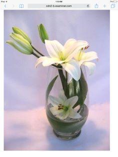 Wedding Ceremony Flowers, Blue Wedding Flowers, Floral Flowers, Purple Flowers, Contemporary Flower Arrangements, White Flower Arrangements, Wedding Arrangements, Lily Centerpieces, Cymbidium Orchids