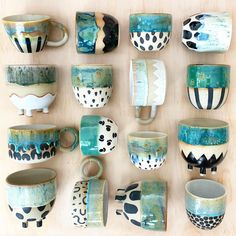 Working hard this week to prepare for the upcoming web release! 💪🏼⚡️☕️ If you've been waiting for this one then make sure you've signed up… Pottery Mugs, Ceramic Pottery, Pottery Art, Thrown Pottery, Slab Pottery, Glazes For Pottery, Pottery Painting, Ceramic Painting, Ceramic Cups
