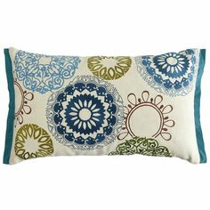 Suzani Pillow (Pier 1 Imports) Turquoise/Teal, light green/apple green, and light blue color scheme combo.