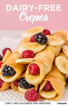 Whip up a batch of these perfectly fluffy dairy-free crepes! I like to top them with sweet ingredients, like low-sugar jam and fresh fruit. #lightandhealthy #dairyfree #lowcalorierecipes #easybreakfastrecipes #under200calorierecipes #healthybreakfastideas