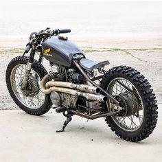 Check out this beast of a Bobber, scrambler, cafe awesomeness. Honda Bobber, Bobber Bikes, Bobber Chopper, Cafe Racer Motorcycle, Vintage Motorcycles, Custom Motorcycles, Custom Bikes, Honda Motorcycles, Bobbers