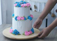 2 Tiered White based with Blur Hydrangeas and Pink Roses