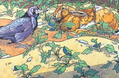 "This reminds me of ""Watership Down"" although I'm pretty sure there wasn't a scene where Hazel rah met Raven...!  Awesome Illustration by Andrew Haslen"
