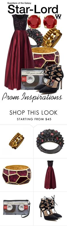 """""""Guardians of the Galaxy - Prom Inspirations"""" by wearwhatyouwatch ❤ liked on Polyvore featuring Waterford, Oscar de la Renta, Aidan Mattox, Prom, wearwhatyouwatch, marvel, film and MarvelProm"""