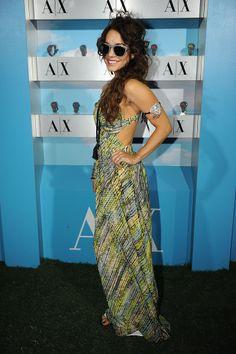 Coachella Fashion 2013 | Vanessa Hudgens rocked a printed A/X Armani Exchange maxi dress with a cutout back at the Neon Carnival