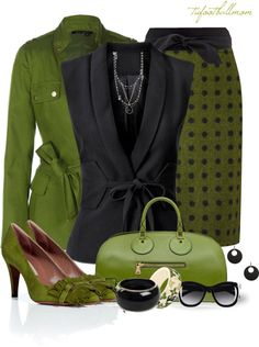 CLWO: Olive green, black and gold work outfit combination #olive #green #black #gold #combo #work #outfit #clothing