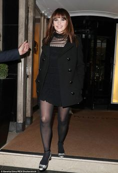 Bow Sexy Zooey Deschanel Wears A Pair Of Sexy Stockings
