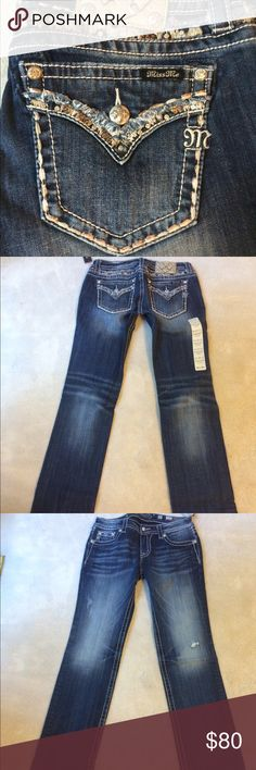 NWT Miss Me jeans!  Just in. NWT Miss Me jeans. Signature straight - 33 1/2 inch inseam. Smoke free home - next day shipping 6 days a week. No trades or holds. Price is firm. Check my other listings for other sizes! All jeans come to me in plastic. Removed from plastic to photograph. All first quality - no defects. Miss Me Jeans Straight Leg