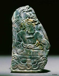 height cm Pendant of ruler seated on sun deity throne. He wears a long nose monster as his headdress. Ancient Aliens, Ancient Art, Maya Design, Paleolithic Art, Colombian Art, Mayan Cities, Tikal, Mesoamerican, Art History