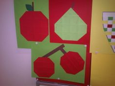 Vouwwerkje met het thema fruit Vegetable Crafts, Fruits And Vegetables, Shapes, Projects, Kids, Food, Log Projects, Young Children, Blue Prints