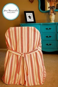 Easy to sew folding chair cover.  Actually looks better in other pictures.
