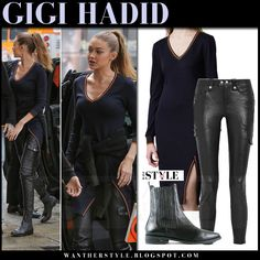 Gigi Hadid in navy knit sweater and black leather pants