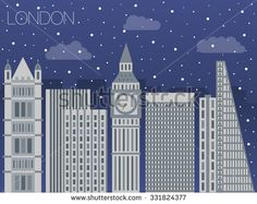 Snow-covered city before holidays in London city. Colorful flat style panorama buildings of metropolis. Big city for background of games. Vector flat illustration snow falling in street of London