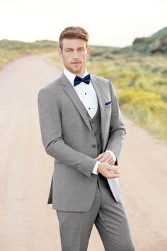 Bend oregon tuxedo and suit rental - the bridal suite Grey Tuxedo Wedding, Prom Tuxedo, Wedding Suits, Men's Tuxedo, Wedding Attire, Wedding Groom, Wedding Dress, Navy Bow Tie, Navy Tuxedos