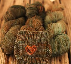 This is the verdegris colourway shown in the different weights, the different yarns take the colours so differently.