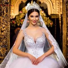 Cheap wedding gowns, Buy Quality vintage ball gowns directly from China gown wedding Suppliers: Luxury Vintage Ball Gown Wedding Dress Crystal Beading Vestido De Noiva 2017 Shiny Sexy Backless Sheer Neck Wedding Gowns Princess Style Wedding Dresses, Princess Ball Gowns, Dream Wedding Dresses, Bridal Dresses, Wedding Gowns, Wedding Bride, Sweetheart Bridal, Braut Make-up, Bridal Crown