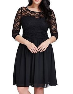 Grapent Womens Plus Size Cocktail Lace Top Chiffon Skirt Evening Aline Black Dress 14W -- Read more reviews of the product by visiting the link on the image.