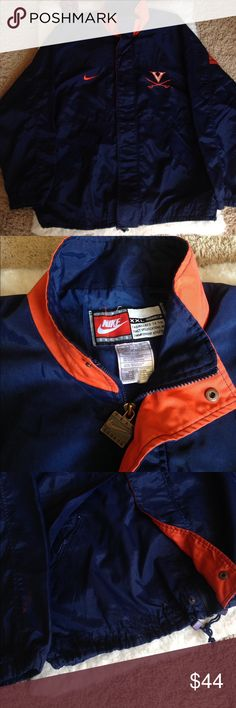 Nike Virginia UVA Windbreaker Jacket Nike Virginia UVA Windbreaker Jacket The inside has the windbreaker feel while the outside has more of a rough feeling. Blue Jacket with Orange nike sign. Orange and White Virginia logo. Zippered and buttoned. Adjustable waist. Covered pockets. Back design: Orange Nike sign and orange Virginia letters.  Size 2xL Flaw: has some orange stains. Nike Jackets & Coats Performance Jackets
