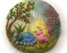 Tapiz de los niños cuadro flor húmedo fieltro fieltro por FilzArts