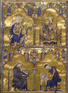 Toledo Bible Moralisée, Queen and King with Iconographer and Illuminator, c. 1225-30