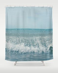 Shower Curtain Bathroom Home Decor, Ocean Sea Aqua Aqamarine Waves Dreamy  Beach House Decor, Seashore, Summer, Blue