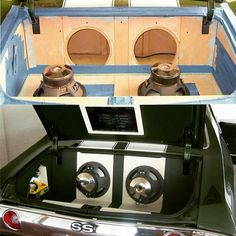 71 72 chevelle custom car stereo trunk install subwoofers
