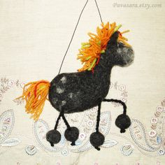 Felted horse. Black horse. Horse with multicolor hair. Christmas horse. New Year horse. Horse decoration. Horse gift. Beautiful horse. Handmade horse. Craft horse. Dappled horse. Dark horse. Hangable horse. Room decoration.