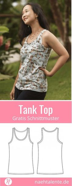 Tank Top für Damen – Freebook Größe 34 – 50 Free Sewing Pattern Tank Top for Women. Size 34 – PDF cut to print. Easy for Beginners ❤ Sewing Talents – Magazine for Free Sewing Patterns – Free sewing patterns for a woman tank top. Sewing Dress, Sewing Shorts, Sewing Clothes, Sewing Patterns Free, Free Sewing, Dress Patterns, Sewing Tips, Sewing Hacks, Sewing Tutorials