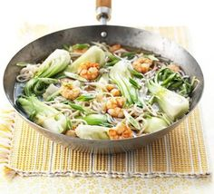 Super-fast Prawn Noodles with Bok Choi and Ginger Bbc Good Food Recipes, Cooking Recipes, Healthy Recipes, Prawn Noodle Recipes, Noddle Recipes, Sticky Lemon Chicken, Bbc Good Food Show, Chicken Chickpea, Fodmap Recipes