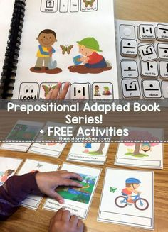 Check out Sarah's Prepositional Adapted Book Series & FREE follow up activities on the blog!! From theautismhelper.com #theautismhelper Preposition Activities, Autism Activities, Speech Therapy Activities, Language Activities, Preschool Activities, Shape Activities, Library Activities, Speech Language Therapy, Speech And Language