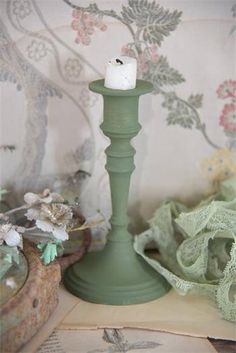 New Vintagepaint olive green Annie Sloan Chalk Paint Projects, Chalk Paint Tutorial, Olive Green, Candle Holders, Candles, Painting, Inspiration, Industrial, Room