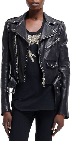 $1,949, Cropped Stud Trim Moto Jacket by Alexander McQueen. Sold by Neiman Marcus. Click for more info: http://lookastic.com/women/shop_items/76554/redirect