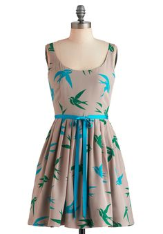 Flight Hearted Dress by Corey Lynn Calter - Tan, Green, Blue, Print with Animals, Pleats, Pockets, Fit & Flare, Sleeveless, Fall, Mid-length, Casual