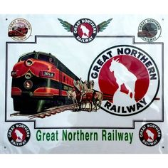 Reproduction and enhanced historic railroad ad of a Great Northern Railway passenger train with local Indians looking on. Great Northern Railroad, Train Drawing, Railway Posters, Tin Signs, Sound Of Music, Locomotive, Trains, Map, Gallery