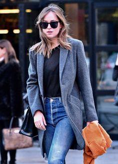 1a3d287ea1422 Dakota Johnson strolling in Soho in a vintage-inspired ensemble on October  12