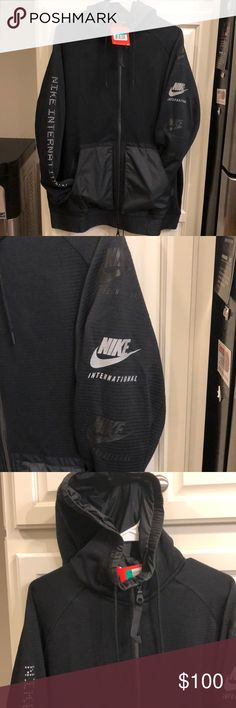 Nike International Men's Hoodie Blk Size XL Brand new never worn.  Been in my collection for a while.  This thing is awesome.   High quality materials nice and stretchy.   Don't really want to sell this but I have so many black Nike hoodies.    Just bought a matching pair of pants NWT size Large.  But might be keeping the fit for my self so act fast. No low balling please. Nike Shirts Sweatshirts & Hoodies
