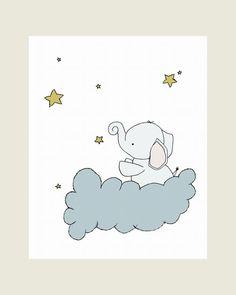 Elephant Nursery Art Print, Nursery Decor, Elephant Art Print, Baby Elephant Stars, 8x10 Children Art Print, Kids Wall Art, Custom White