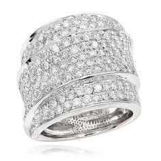 14K Gold Round Diamond Ladies Ring 3 Carat Luxurman Right Hand Rings