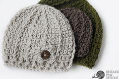 Crochet Beanie Pattern - Swirl Hat - Rescued Paw Designs