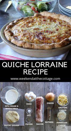 Quiche Lorraine Recipe - Weekend at the Cottage Quiche Recipes, Brunch Recipes, Breakfast Recipes, Pie Dough Recipe, Breakfast Quiche, Christmas Breakfast, Food Print, Quiche Lorraine Recipe French, Sweets