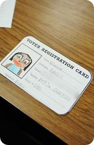 Student voter registration card. Great for Social Studies unit on the election process! @Leah Marr