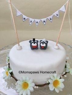 Mr & Mrs Schnauzer Dog, Bride and Groom, Unique Handmade Ornament unusual OOAK wedding gift, cake topper by MomapawsHomecraft on Etsy
