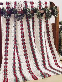 Crochet - Holiday & Seasonal - Christmas Patterns Make a Christmas afghan with this easy crochet afghan pattern. Christmas Crochet Patterns, Holiday Crochet, Crochet Gifts, Easy Crochet, Crochet Toys, Crochet Baby, Afghan Crochet Patterns, Crochet Stitches, Christmas Afghan