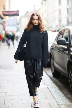 knit and leather pants from Bruuns Bazaar and shoes and bag from Celine at NathalieSchuterman.