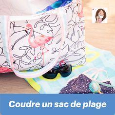 Vous souhaitez coudre un sac de plage en prévision des vacances ? Ce tutoriel de couture vidéo (gratuit) de Dodynette vous explique chaque étape ! Diaper Bag, Tutorial Sewing, Tutorials, Clutch Bags, The Beach, Bags, Diaper Bags, Mothers Bag