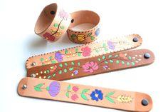 Folk Art Burnt & Painted Leather Cuffs